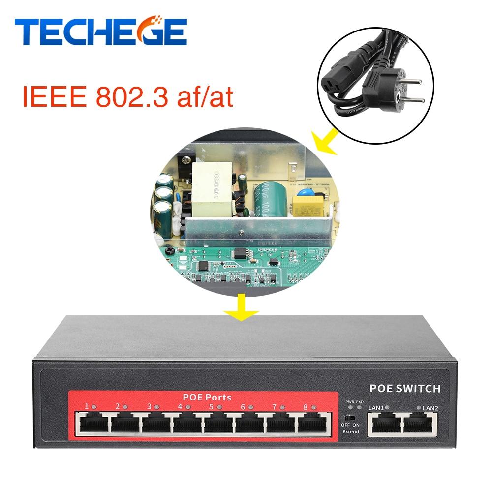 52V/48V Network POE Switch Ethernet 8 Ethernet Port 2 Uplink Ethernet Port IEEE 802.3 Af/at Suitable For IP Camera