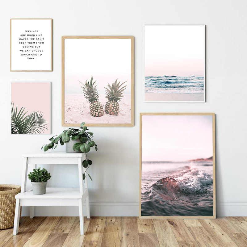 파인애플 오션 비치 그림 스칸디나비아 포스터 풍경 벽 아트 캔버스 인쇄 그림 노르딕 스타일 현대 거실 장식
