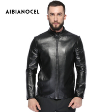 AIBIANOCEL Men's Sheepskin Motorcycle Real Leather Jacket Genuine Leather Jackets Winter Warm Coat Men Leather Jacket Sheepskin