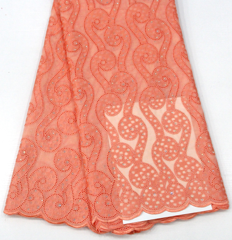 African Dry Lace Fabrics Beautiful For Women Cotton Dry Lace Fabric Swiss Voile With Stone Swiss