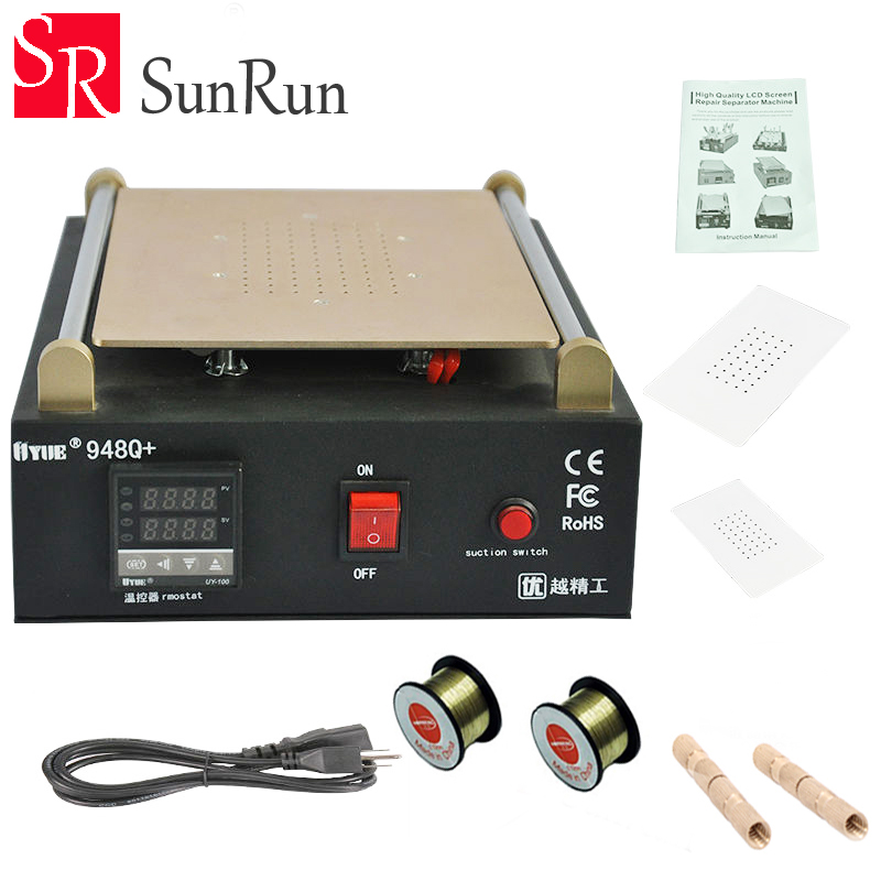 UYUE 948Q+ Built-in Vacuum Pump Mobile phone LCD Screen Separator Machine Max 11 inches Lens Glass Repair + 100m Cutting Wire uyue 948q 110 220v built in pump vacuum metal body glass lcd screen separator machine max 7inches cutting wire 50m silicon plate