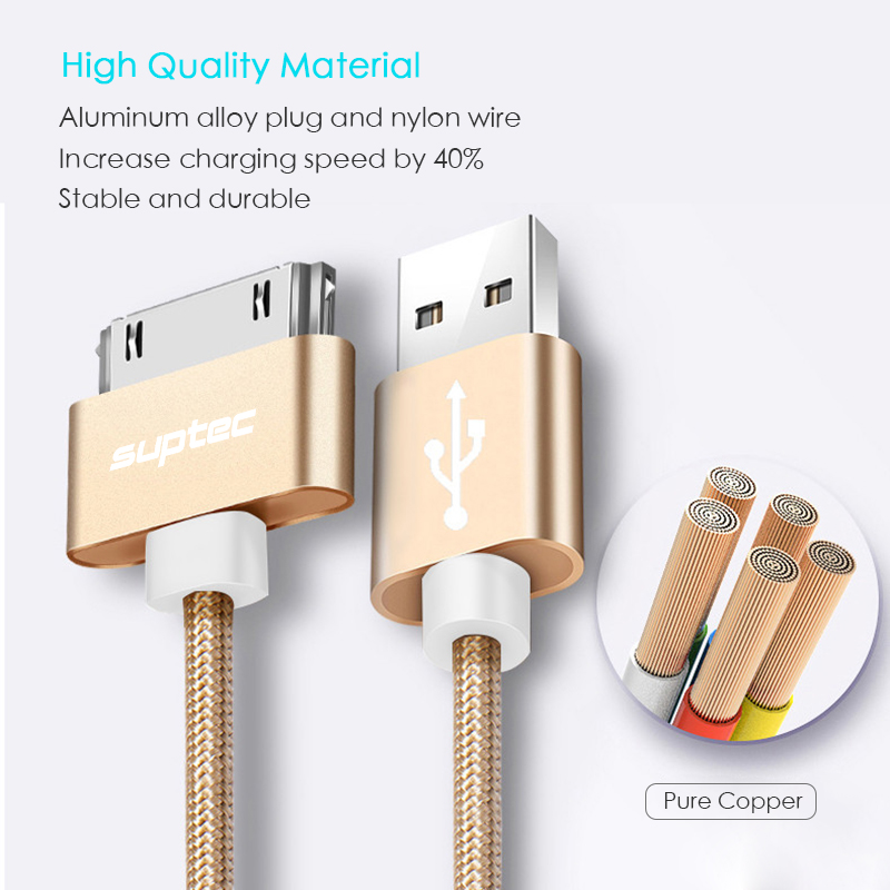 Suptec 30 Pin USB Cable for iPhone 4s 4 Metal Plug Nylon Braided Wire Charger Cable
