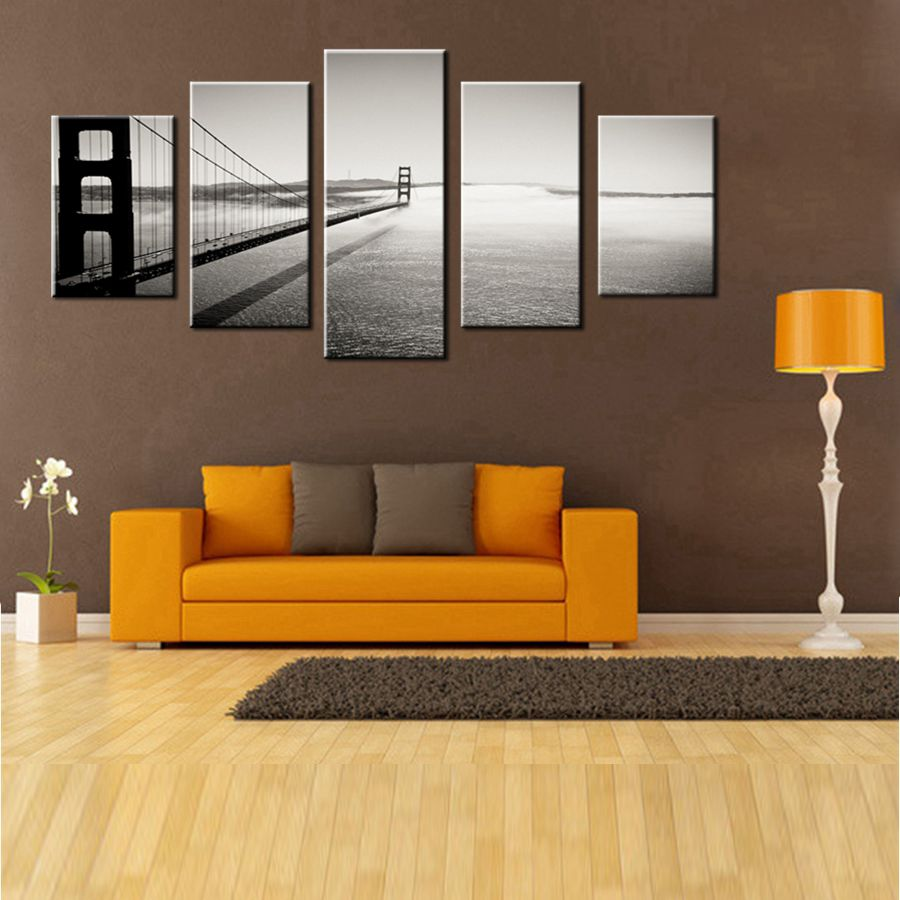 Black and White Wall Decor Golden Gate Bridge San Francisco Building Landscape Poster Printed Canvas Painting for Room Wall Art