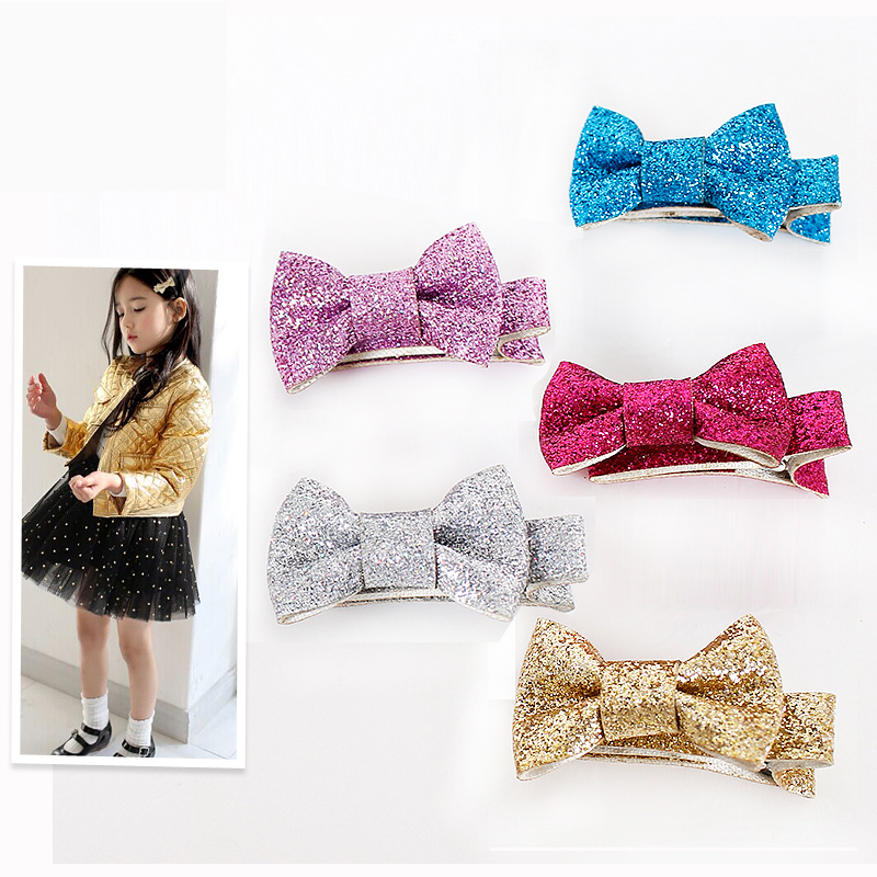 New Baby Girls Favored Hair Hairpin Shiny Fabrics Bowknot Hair Clip Safe and Comfortable font b