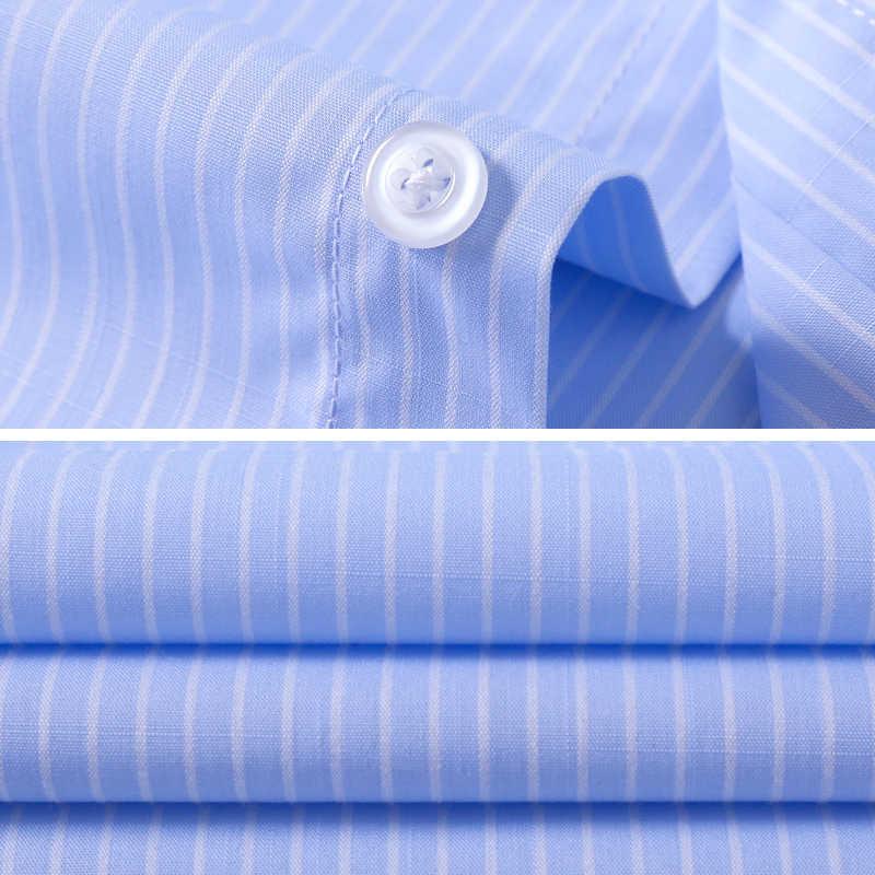 ブランド 2018 ブルー男性のストライプシャツ長袖ターンダウン襟男性のシャツオフィスドレスカジュアルドレスシャツメンズすべてのサイズ XS-4XL