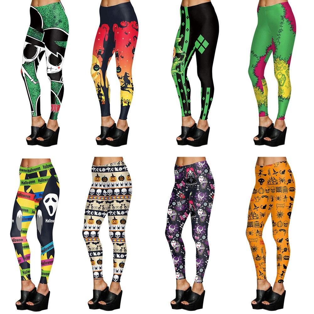 Halloween Haunted House Pumpkin Lantern Leggings Women Slim Skinny Women Bottoms Fitness Printing Mujer Pants
