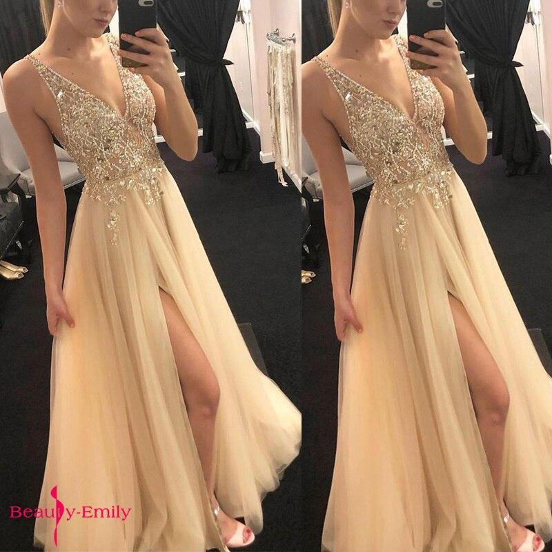 Beauté Emily 2019 Sexy chaude profonde col en V robes de soirée paillettes cristal sans bretelles sans manches creux dentelle robe de soirée en mousseline de soie robe