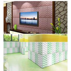3D стикер на стену сплошной цвет ПУ кожа пена настенное украшение для гостиной офиса может CSV