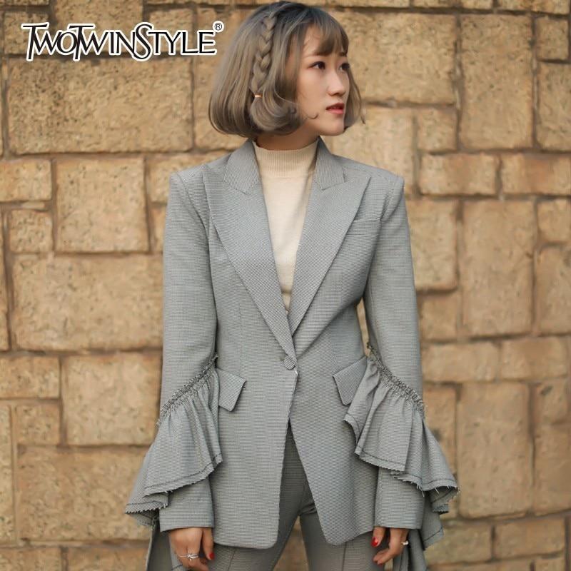 Anzüge & Sets Liberal Twotwinstyle Plaid Blazer Weibliche Jacke Revers Lange Flare Hülse Rüschen Vintage Dünnen Frauen Anzug Mantel Mode Kleidung Neue 2018