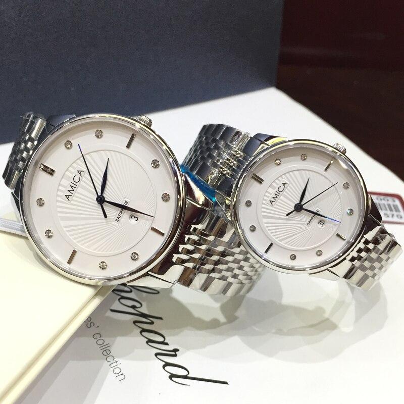 AMICA 2018 New Luxury Fashion full steel lovers waterproof quartz watch mens watch ladies watch amica luxury crystal diamond blue shell dial womens quartz watch ladies watch