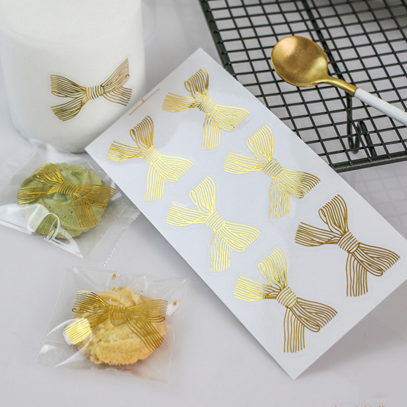 600pcs/lot New Golden Big Bow Gold Handmade Box Packaging Sealing Label Sticker Adhesive Stationery  4.5*3CM Wholesale