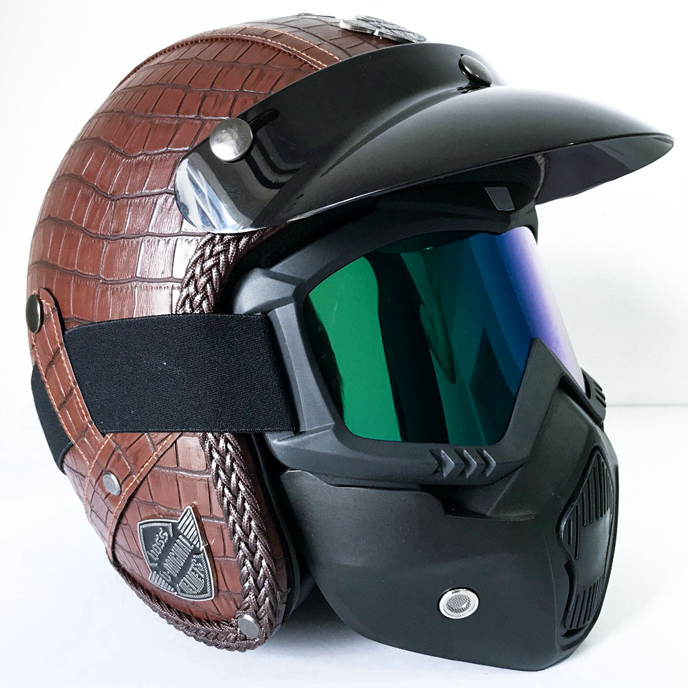 Vintage Full Face Motorcycle Helmets for Retro Moto Motocross Helmets Motorbike Scooter Mask Accessories Harley Yamaha etc.