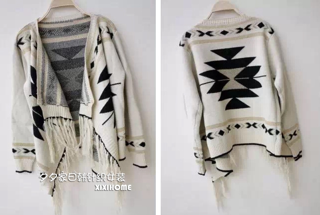 Equestrian equipment Women Knitted Cape Aztec Tribal Gypsy Sweater Boho Fringe Indian Chic Cardigan free shipping black beige
