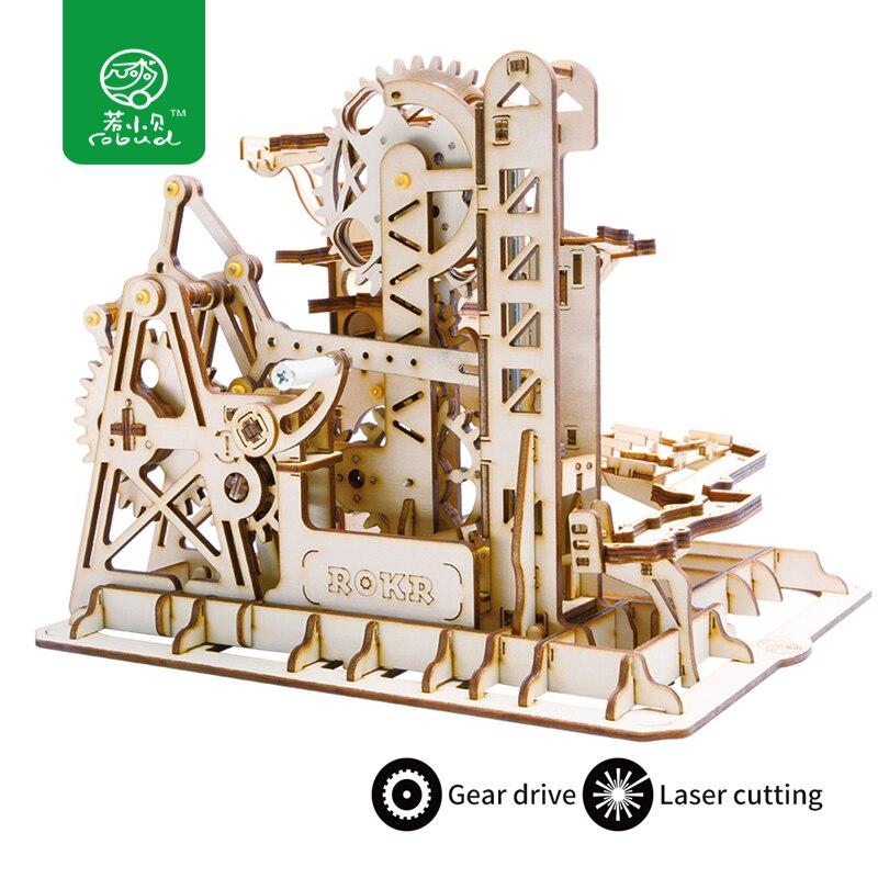 Robud DIY Tour Coaster Magie Engrenage Balle Crash Jeu En Bois Modèle Kits de Construction Jouet Cadeau pour Enfants LG504 pour dropshipping