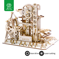 Robud DIY Tower Coaster Magic Gear Drive Ball Crash Game Wooden Model Building Kits Toy Gift for Children LG504 for Dropshipping