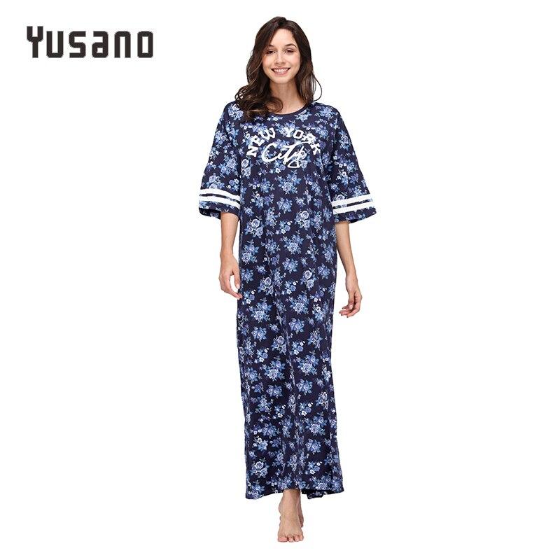 Yusano Femmes Chemise de Nuit Plus La Taille de Coton des vêtements de Nuit Longue Robe De Nuit De Chemise De Nuit 2XL 3XL 4 XL 5XL Chemise de Nuit Rose Bleu flore