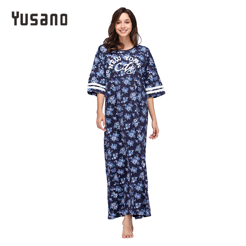 Yusano women 39 s nightgown plus size cotton sleepwear dress Long cotton sleep shirts