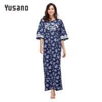 Yusano Women's Nightgown Plus Size Cotton Sleepwear Dress Long Nightwear Nightshirt 2XL 3XL 4 XL 5XL Nightdress Pink Blue Flora