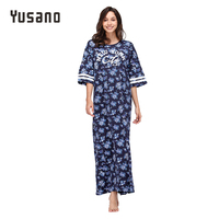 Yusano Women's Nightgown Plus Size Cotton Sleepwear Dress Long Nightwear Nightshirt 2XL 3XL 4 XL 5XL Nightdress Pink Blue Flora