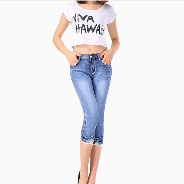 Aliexpress hot style Sexy New summer wear jeans cultivate one's morality show thin cowboy  of pants female foot pencil pants