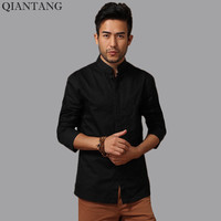 Black Men S Cotton Long Sleeve Kung Fu Shirt Classic Chinese Style Tang Clothing Size S