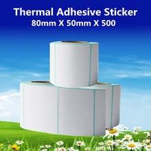 80*50*500pcs per roll Thermal Label Adhesive Stickers 80mm X 50mm Thermal Sensitive Adhesive Sticker Barcode Printer Labels