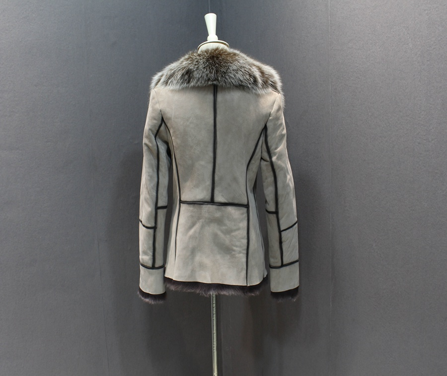 100% genuine sheepskin leather with fur coat slim with fox fur collar (13)