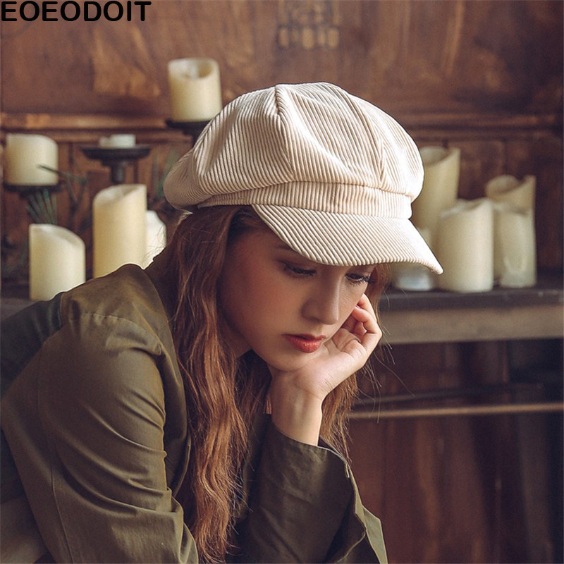 Image EOEODOIT Berets Women New Caps Corduroy Retro Vintage European Old Style Painter Hats 2018 Spring Autumn