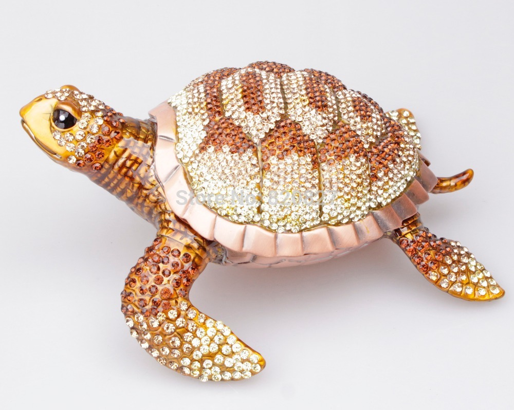 Large Czech Crytal Turtle Trinket Box Jewelry Box Feng Shui Turtle Display Crafts sgodde chinese lucky waving gold cat figure with moving arm in colourful box feng shui outdoor hammock