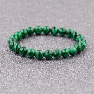Image 3 - 2020 Natural Green Stripe Stone Beads Bracelet Charm Men Meditation Handmade Bracelets&Bangles Prayer Jewelry Women AB139