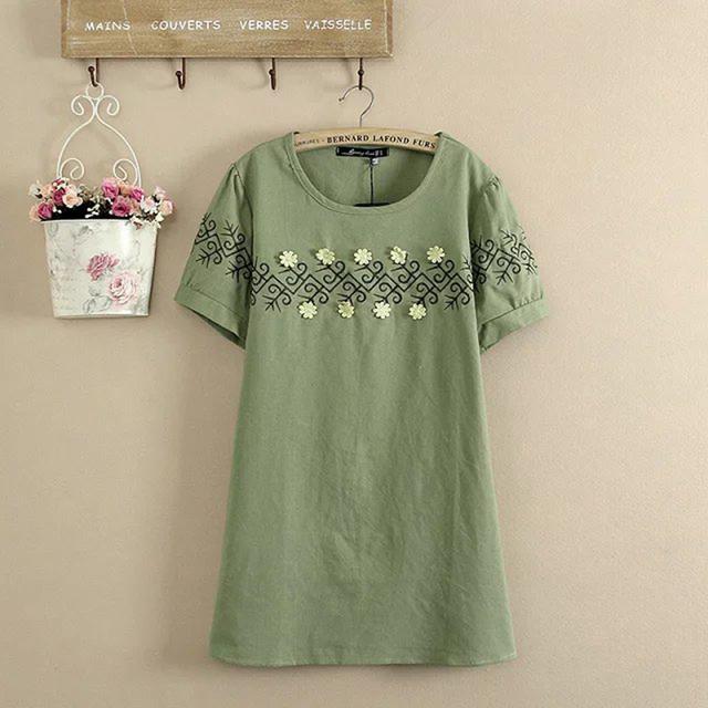2017 Bordado de La Manera del Tamaño del verano mujeres Camiseta de alta calidad de tela de lino de Algodón Del O-cuello de las señoras de las mujeres tops camiseta femenina