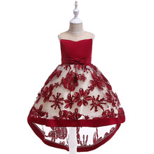 Luxury RED Flower Girls Dresses for Weddings Lace Appliques  Little Girls First Communion Dress Girls Pageant Party Gown luxury 2017 first communion dress puffy flower girl dresses for weddings little girls pageant dresses free shipping