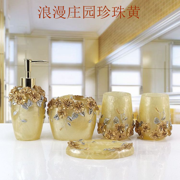 Cup brush bathroom set luxurious fashion resin five pieces holder Bath gel bottle soap box Toothbrush