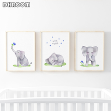 Cute Watercolor Elephant Nursery Wall Art Canvas Poster Nordic Blue and Grey Print Painting Decoration Picture Baby Room Decor