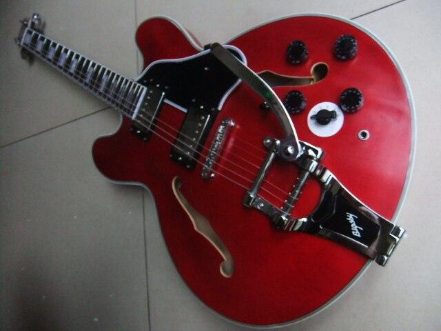 Commercio all'ingrosso di New Jazz Guitar 1959 ES-ES355 bigsby ponte chitarra elettrica in aged rosso ES 355 110408