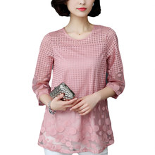 VogorSean Womens Elegant Summer Tops and Blouses Shirts Loose Chiffon Lace Blouse Plus Size Vetement Femme Blusas Camisa New(China)