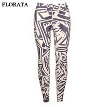 FLORATA 2017 new style black and white leggings print irregular triangle soft casual pencil pants sexy