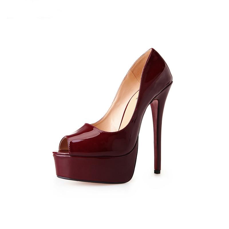 ФОТО Plus Size 40-48 Sexy 16cm super high heels thin woman shoes peep toe wedding stiletto platform heels shoes for women
