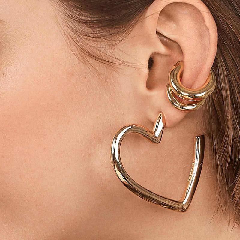 LUNA CHIAO ทองชุบโลหะผสมโลหะหูชุด Huggie Hoop ต่างหูออกแบบใหม่