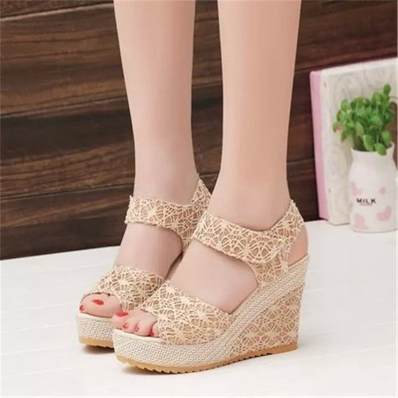 Women Sandals 2018 New Fashion Summer Open Toe Fish Head Middle Heels Wedge Sandals female shoes in the summer of 2016 the new wedge heels with fish in square mouth denim fashion sexy female cool shoes nightclubs