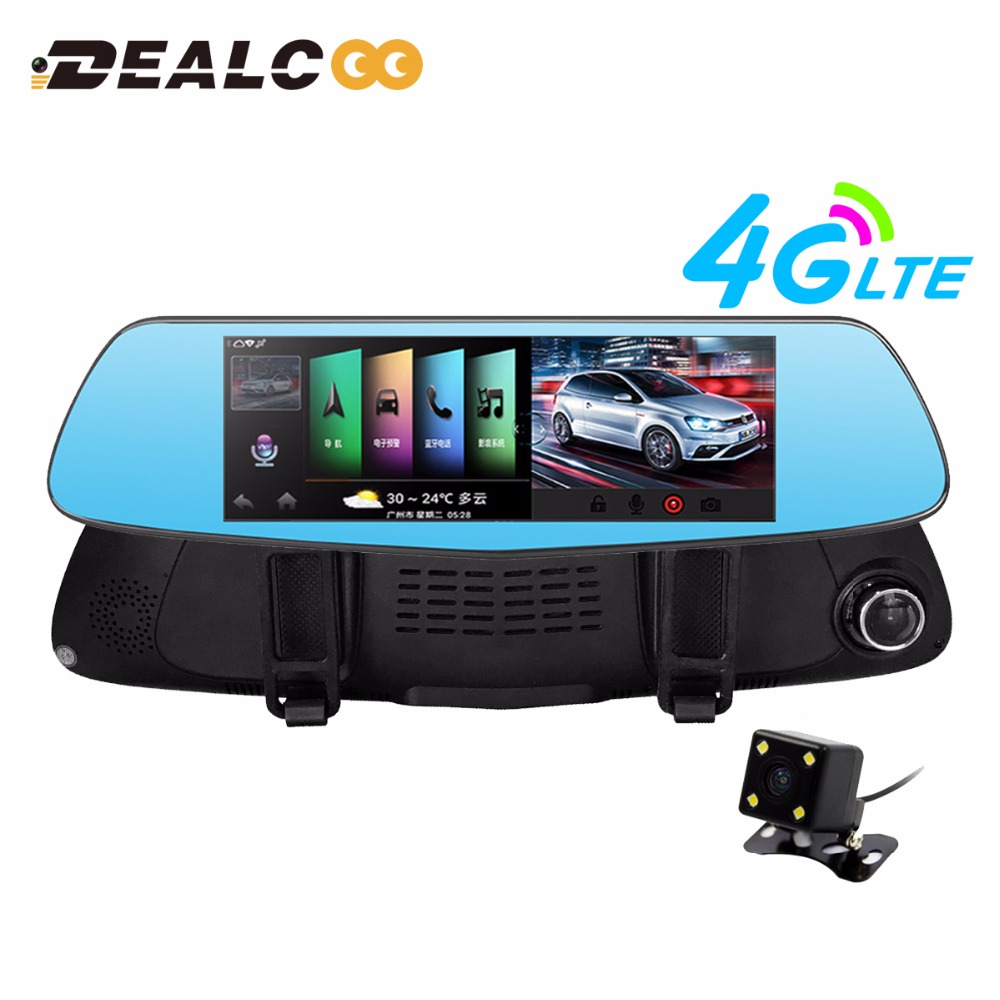 Dealcoo 7 car dvr camera rearview mirror android 5 0 4g network video recorder gps navigation