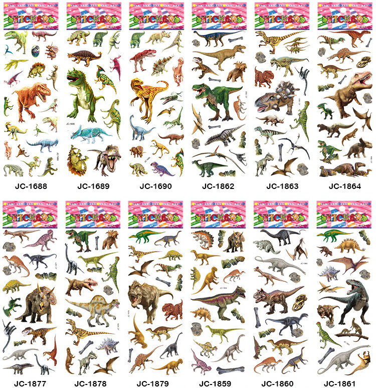 12 levhalar kabarcık çıkartmalar 3D Jurassic dinozorlar klasik oyuncaklar karalama defteri çilek çocuklar hediye ödül dizüstü çıkartmalar