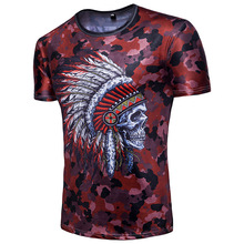 Funny 3D Skull T Shirt Men Fashion Camouflage Short Sleeve Tee Homme Casual Hip Hop T-shirt Male Camisetas Hombre xxl