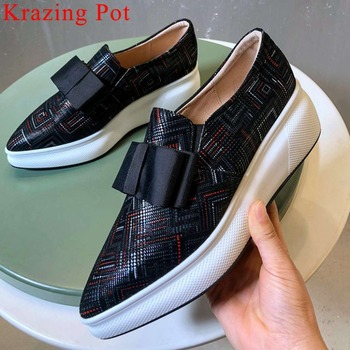 2019 classic butterfly-knot decoration new kid suede pointed toe slip on loafers high bottom platform woman vulcanized shoes L23