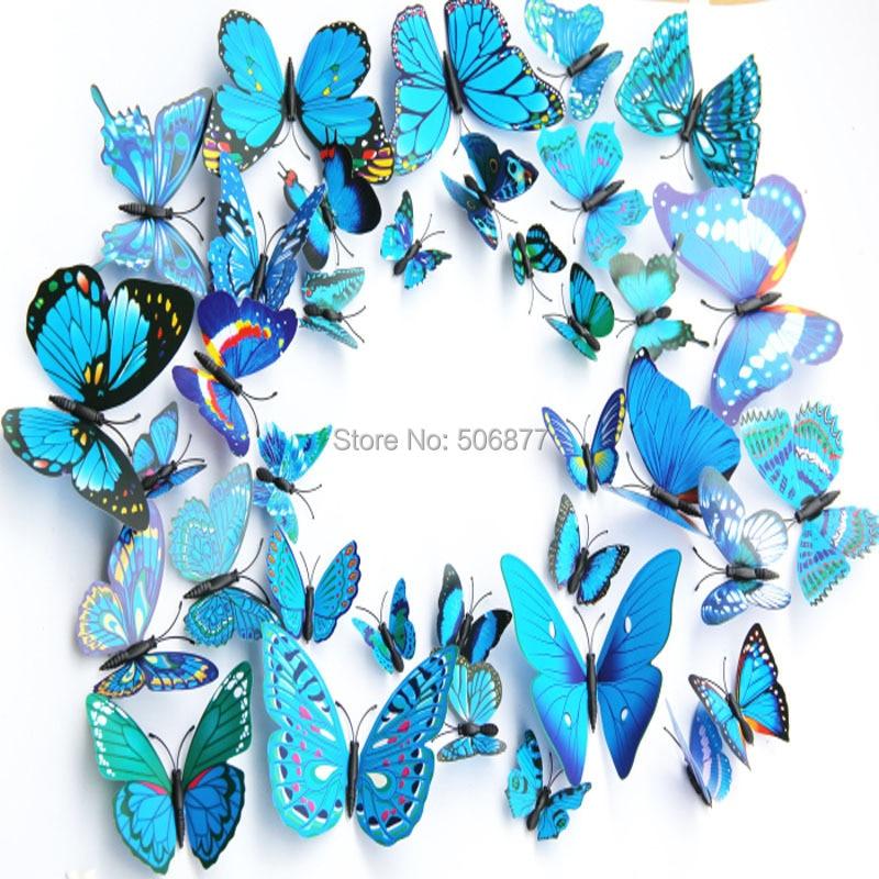 - 12pcs/set, Blue 3D Artficial Butterfly Wedding Decoration /Fridge Magnet / Refrigerator Love Sunshine store