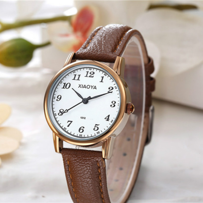 Golden Female Watch Ladies' Watches 2017 Famous Brand Women's Clock With Leather Strap reloj mujer female watch