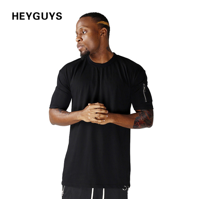 HEYGUYS cotton t shirts mens new summer street wear hip hop T-SHIRTS 2017 brand fashion zipper on sleeve t-shirts pure color