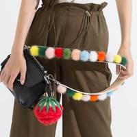 Colorful Pom Pom Strap Really 100 Mink Fur Bag Strap You Handbag Large Big Wide Genuine