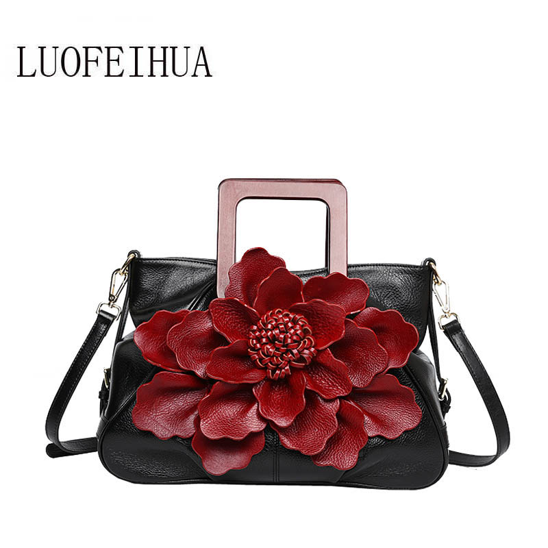 LUOFEIHUA Genuine Leather women bags for women 2019 new retro ethnic style first layer cowhide flower handbags handbagLUOFEIHUA Genuine Leather women bags for women 2019 new retro ethnic style first layer cowhide flower handbags handbag