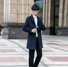 Autumn overcoat men's clothing medium-long woolen coats mens single breasted wool coat men plus size blue suit collar outerwear